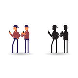 使用在电话的人的传染媒介例证 象人和他在动画片样式的剪影 库存图片