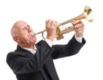 使用在白色的喇叭的祖父隔绝了背景 免版税库存照片
