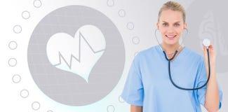 使用在白色背景的女性外科医生的综合图象听诊器 库存照片