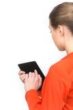 使用在白色背景的少妇触摸板 图库摄影