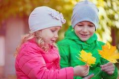 使用在秋天公园的愉快的孩子 图库摄影