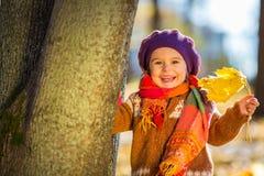 使用在秋天公园的愉快的小女孩 免版税库存照片