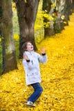 使用在美丽的秋天公园的愉快的男孩 图库摄影