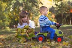 使用在美好的秋天da的公园的小男孩和女孩 免版税库存照片