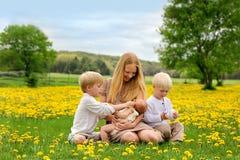 使用在花草甸的母亲和三个孩子 免版税图库摄影
