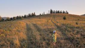 使用在草甸领域小山的愉快的孩子 夏天休假背景 愉快的童年背景 非都市场面 股票视频
