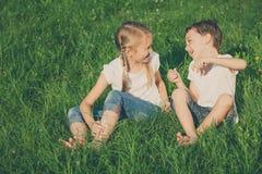 使用在草的树附近的两个愉快的孩子天 库存照片