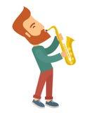 使用在街道的萨克斯管吹奏者 免版税库存照片