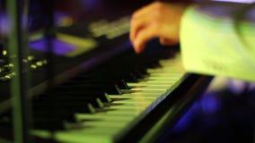 使用在键盘的音乐家紧密  股票视频