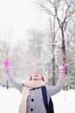 使用在雪的女孩 免版税库存图片