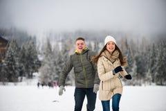 使用在雪的嬉戏的青少年的夫妇 免版税库存照片