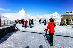 使用在马塔角,策马特,瑞士2的滑雪 库存照片