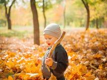 使用在黄色叶子的小男孩 秋天在城市公园 免版税库存图片