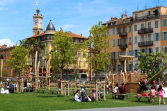 使用在Promenade du Paillon在尼斯,法国 库存图片