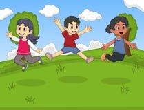 使用在Th的孩子停放跳和笑的动画片传染媒介例证 免版税库存图片