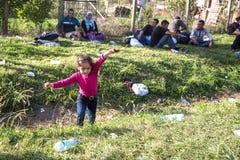 使用在Tovarnik的难民孩子 库存照片