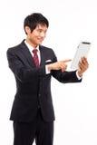 使用填充个人计算机商人。 免版税库存图片