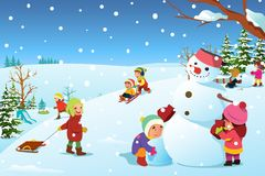 使用外面在冬天例证时的孩子 库存照片