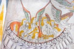 使用天堂般的乐队,中世纪哥特式壁画 库存图片