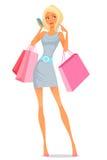 使用她的电话的少妇,当购物时 库存图片