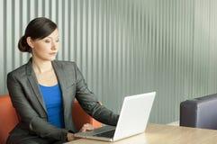 使用妇女的企业膝上型计算机 免版税库存图片