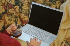使用妇女的长沙发膝上型计算机 图库摄影
