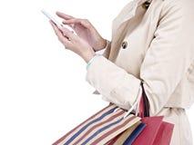 使用妇女的移动电话 免版税库存图片