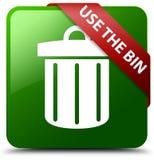 使用容器垃圾象绿色正方形按钮 免版税库存图片