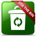使用容器绿色正方形按钮 库存图片