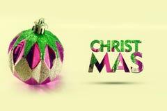 使用小装饰品的简单的圣诞卡 图库摄影