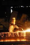 使用工作者,剪切切割工金属火炬点&# 免版税库存照片