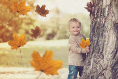 使用愉快的微笑的孩子画象获得乐趣在秋天 免版税库存图片