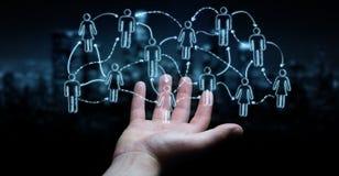 使用手拉的社会网络界面的商人 免版税库存照片
