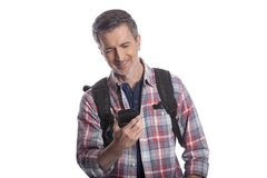 使用手机的游人呼吁Rideshare 库存图片