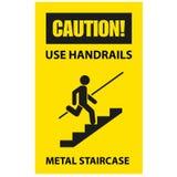 使用扶手栏杆避免秋天-楼梯的小心 库存例证