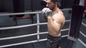 使用拳击反撞力垫的男性把装箱的辅导员,当训练圆环的时年轻女人 影视素材