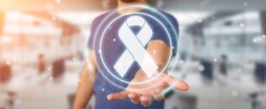 使用数字式丝带癌症接口3D翻译的商人 免版税图库摄影