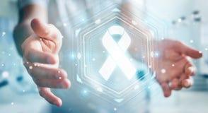 使用数字式丝带癌症接口3D翻译的商人 库存图片