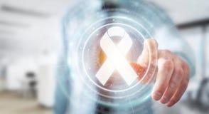 使用数字式丝带癌症接口3D翻译的商人 库存照片