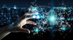 使用数字式二进制编码连接网络3D关于的女实业家 免版税库存照片