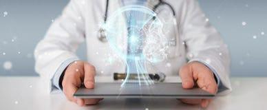 使用数字式人工智能接口3D的医生回报 库存例证