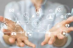 使用数字式医疗接口3D翻译的女实业家 免版税库存图片