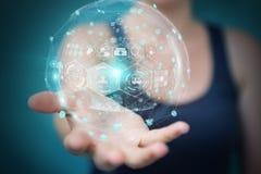 使用数字式医疗球形3D翻译的女实业家 库存图片