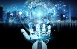 使用数字式屏幕接口3D翻译的白色机器人手 库存照片