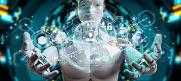 使用数字式屏幕接口3D翻译的白色男性机器人 库存照片