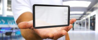 使用数字式屏幕片剂3D翻译的商人 图库摄影
