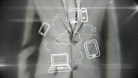 使用数字式未来派接口的商人 向量例证