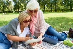 使用数字式片剂的两名资深妇女在公园 库存照片