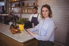 使用数字式片剂的确信的女服务员画象,当站立在柜台时 免版税库存照片
