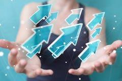 使用数字式现代箭头3D翻译的女实业家 库存图片